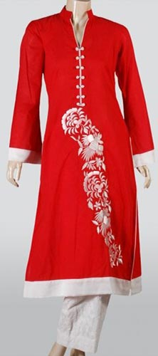Red Punjabi Salwar Kameez Suits Neck Designs 2015 Dresses