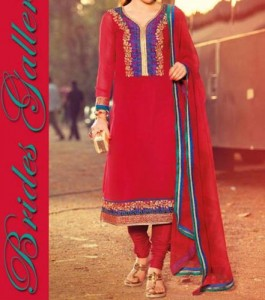 Red Punjabi Salwar Kameez Suits Neck Gala Designs 2015 Dresses