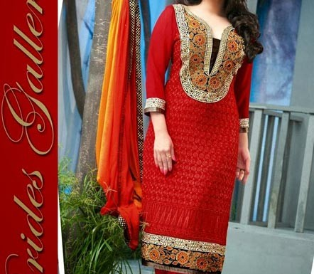 Red Punjabi Salwar Kameez Suits Neck Gala Style Designs 2015 Dresses