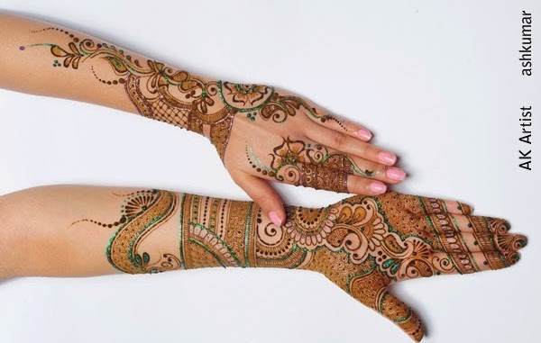 Stylish Bridal Henna Mehndi Designs 2015 for Full Hands Wedding Eid Party
