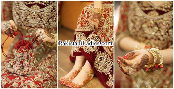 Stylish Bride Wearing Gold Jewelry Sets Designs Mehndi 2015 Pics Ideas Pakistan India Dubai US UK Bangles Finger Rings