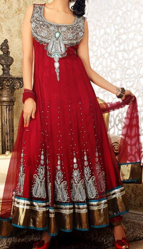 Stylish Fancy Red Colors Frocks Suits Dress 2015 Anarkali Umbrella