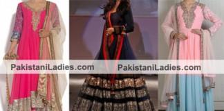 Stylish Kalidar Frock Suits Manish Malhotra 2015 Designs Party Wedding Color Blocked Kurta