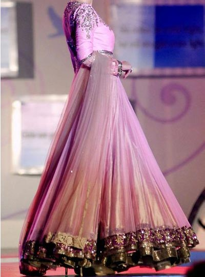 Stylish Kalidar Frock Suits Manish Malhotra 2015 Designs Peach and Sky Blue Color Blocked Kurta