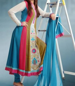 Stylish Multiple Color Panel Frocks Designs 2015 or Colorful Dresses Wedding, Engagement, Party
