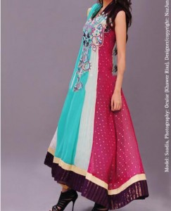 Stylish Multiple Color Panel Frocks Designs 2015 or Colorful Dresses Wedding, Engagement, Party Fashion India Pakistan