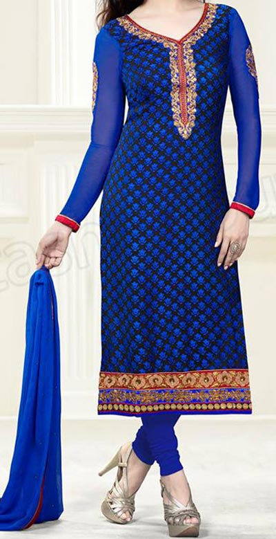 Stylish long Salwar Kameez Designs 2015 Fashion Trends in Indian Suit Neck Gala