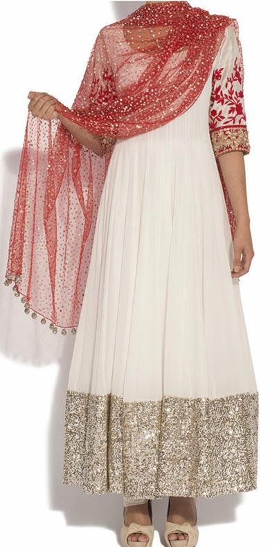 White Fancy Beautiful Kalidar Frock Suits Manish Malhotra 2015 Designs Peach and Sky Blue Color Blocked Kurta