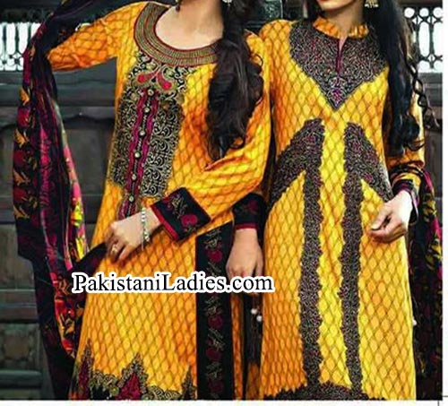 Yellow Tawakkal Fabrics Collection Winter Salwar Kameez Designs 2015 for Women Girls Facebook