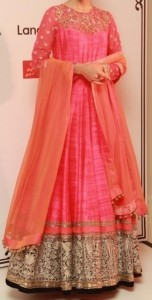 latest frock suits designs manish malhotra 2015 Kalidar Frocks, Anarkali Umbrella Pink