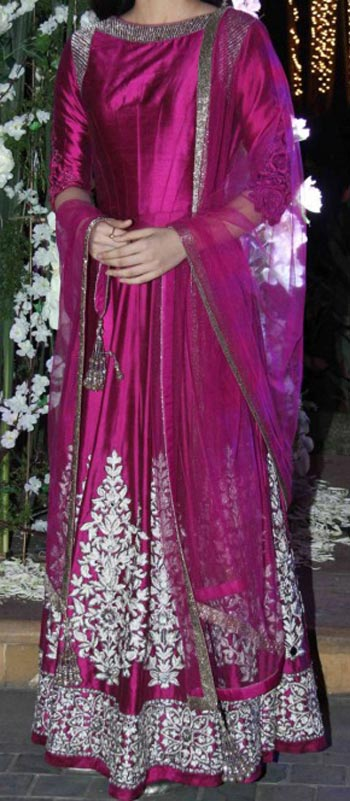 latest frock suits designs manish malhotra 2015 Kriti-Sanon-Purple-Kalidar-Kurta