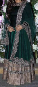 latest frock suits designs manish malhotra 2015 Raveena-Tandon-Emerald-Green-Anarkali