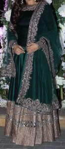 latest frock suits designs manish malhotra 2015 Raveena-Tandon-Emerald-Green-Anarkali