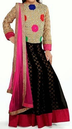 Beautiful-Kids-Girls-Sharara-2015-Lehenga-Choli-Party-Wedding-Dress-Suits