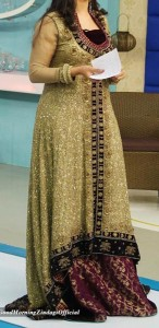 Fancy Good Morning Zindagi With Actress Noor Bukhari A Plus Dresses Designs, Open Style Tail Gown Frock