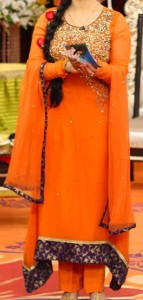 Fashion Week 2015 Pakistan, Mehndi Dresses Noor orange