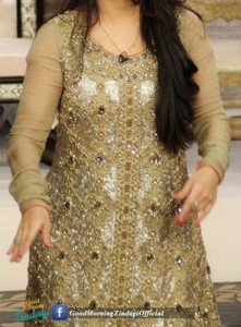 Good Morning Zindagi With Actress Noor Bukhari A Plus Dresses Designs, Open Style Tail Gown Frock 2015