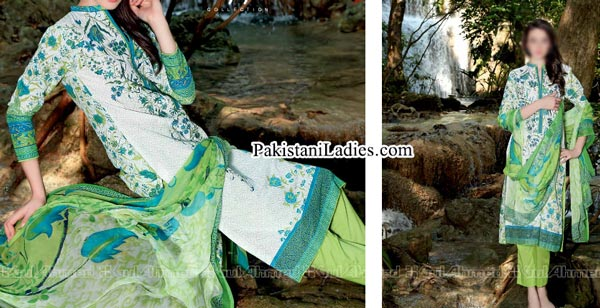 Gul Ahmed Spring Summer Lawn Silk Chiffon Dress Collection 2015 Lemon