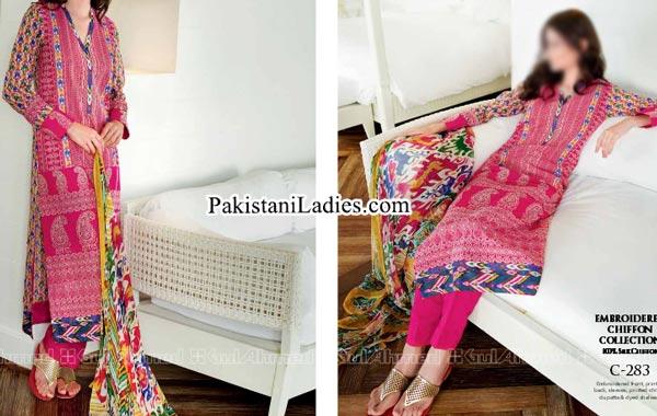 Gul Ahmed Spring Summer Lawn Silk Chiffon Dress Collection 2015 Long Kameez Shalwar