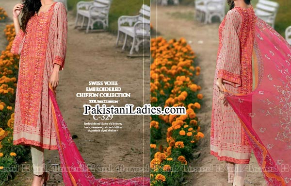 Gul Ahmed Spring Summer Lawn Silk Chiffon Dress Collection 2015 Long Kurta Women