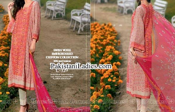 Gul Ahmed Spring Summer Lawn Silk Chiffon Dress Collection 2015 Long Kurta Women
