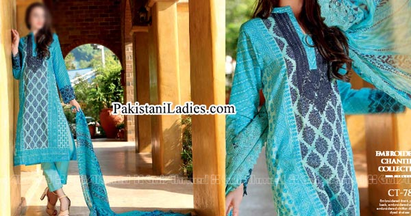 Gul Ahmed Spring Summer Lawn Silk Chiffon Dress Collection 2015 Long Kurta