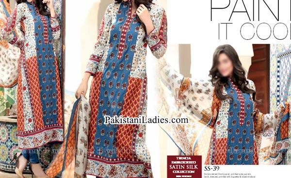 Gul Ahmed Spring Summer Lawn Silk Chiffon Dress Collection 2015 Shalwar Kameez