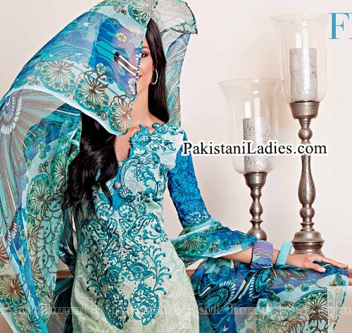 Gul Ahmed Spring Summer Lawn Silk Chiffon Dress Collection 2015 Sky Blue