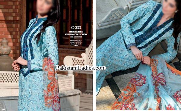 Gul Ahmed Spring Summer Lawn Silk Chiffon Dress Collection 2015 Stylish Shirts