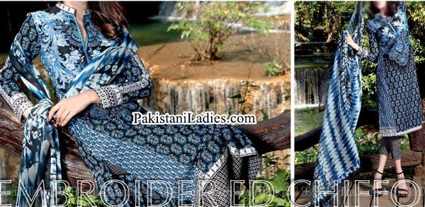 Gul Ahmed Spring Summer Lawn Silk Chiffon Dress Collection 2015 for Women Girls Black