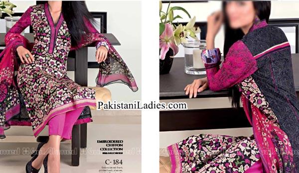 Gul Ahmed Spring Summer Lawn Silk Chiffon Dress Collection 2015