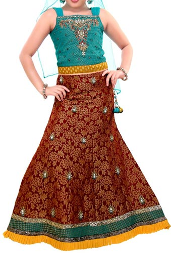 Kids-Girls-Sharara-2015-Lehenga-Choli-Party-Wedding-Dress-Suits-Indian