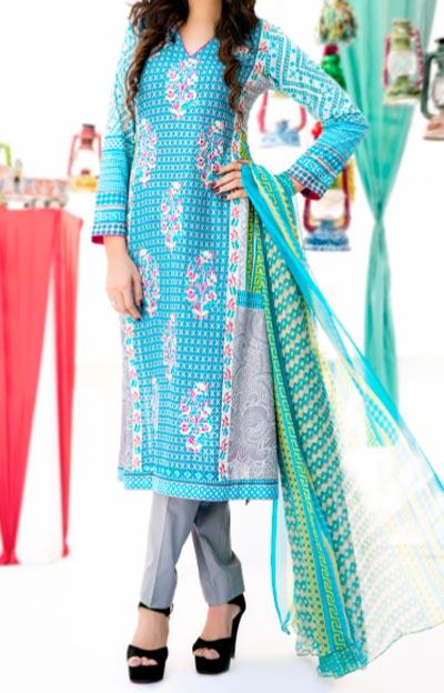 Amna Ismail Lawn 2015 Shalwar Kameez Designs Fashion Sky Blue
