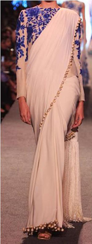 Manish Malhotra Summer Collection 2015 Blue Runway Lakme Fashion Week Saree