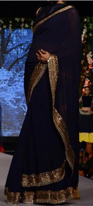 Manish Malhotra Summer Collection 2015 Blue Runway Lakme Fashion Week Sarees