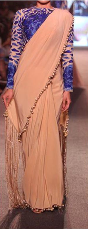 Manish Malhotra Summer Collection Suit 2015 Blue Runway Lakme Fashion Week Saree