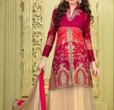 Stylish-Multiple-Color-Panel-Frocks-Designs-2015-or-Colorful-Wedding Sherwani Suits Designs for Women in India Pakistan