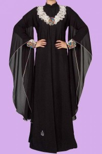 Latest Saudi Abaya Designs Styles Collection 2015 Black 2016