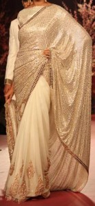 Manish Malhotra Sarees Collection New Arrivals Sari Designs Off White 2015