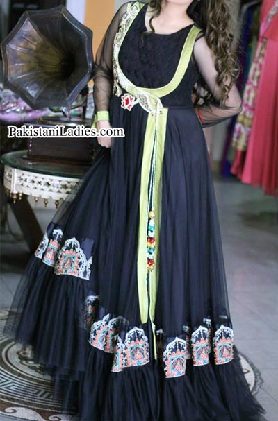 Black New Style of Frocks Latest Front Open Tail Gown Designs