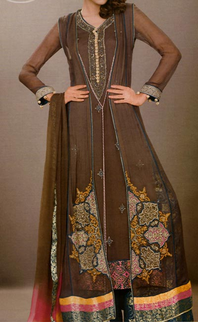 Dark-brown New Style of Frocks Latest Front Open Tail Gown Designs