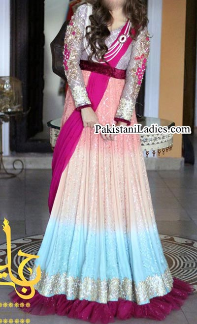 New Style of Frocks for Wedding Front Open Tail Gown Designs 2015 2016