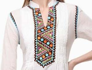Lace Patterned Collar Neck Designs 2016