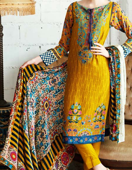 Latest New Salwar Kameez Kurti Suit Designs 2016 Indian Pakistani Yellow