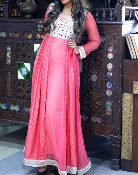 New Frock Design 2016 Latest Style Fashion Pakistan India Pink