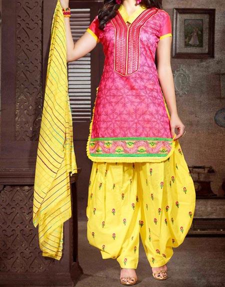 Beautiful Neck Design Patiyala Dress Suit Patiala 2016 Punjabi Salwar Kameez Yellow Pink