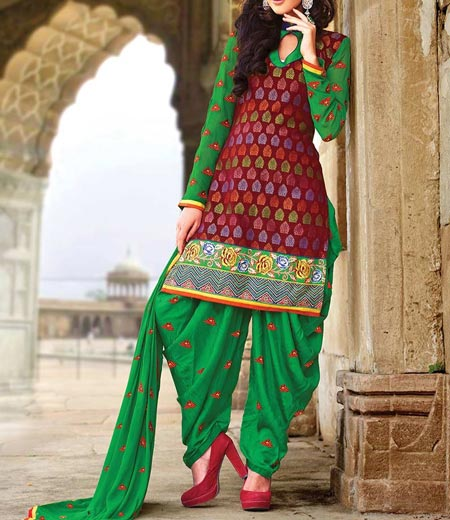 Neck Design Patiyala Dress Suit Patiala 2016 Punjabi Salwar Kameez pleasant-maroon-green-cotton-patiala-suit