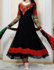 Anarkali Frocks Suit 2016 2017 Designs Fashion in India Pakistan Black