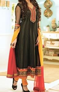 Anarkali Frocks Suit 2016 2017 Designs Fashion in India Pakistan Black Orange