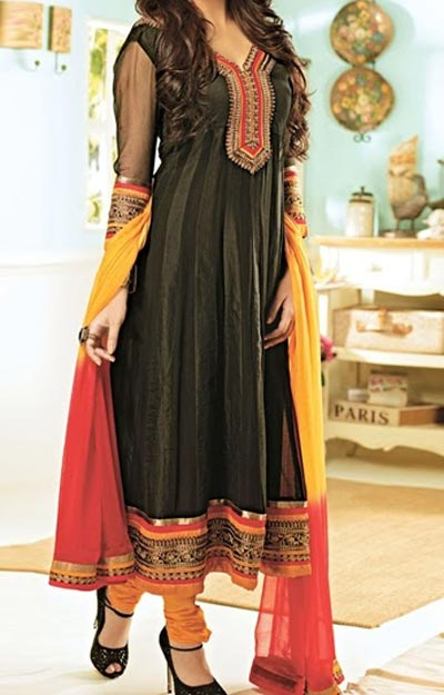 Anarkali Frocks Suit 2016 2017 Designs Fashion in India Pakistan Black Orange